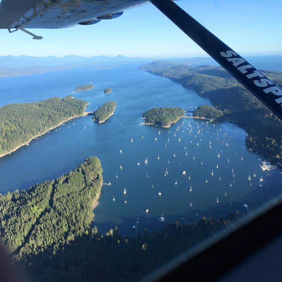 SaltSpring Air over Montague Harbour - Photo by: SaltSpring Air