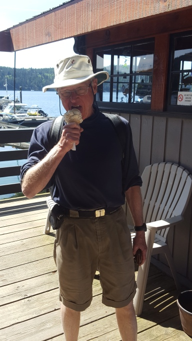 April 30th: Summer has arrived! Clive Caton arrived into the harbour on sailing vessel Planet, enjoying our first ice cream cone of 2016 season!